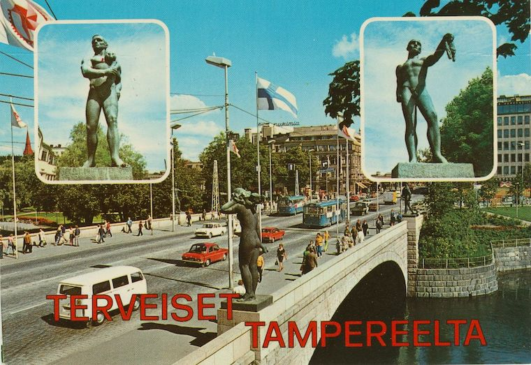 Old postcard from Tampere city