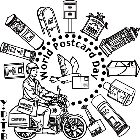 Souvenir cancellation stamp for World Postcard Day with many of the world's postboxes