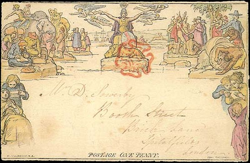 Hand-colored Mulready envelope