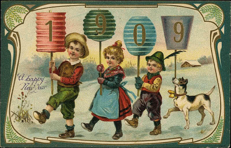 1909 New Year postcard showing three children and a dog holding digit signs for year