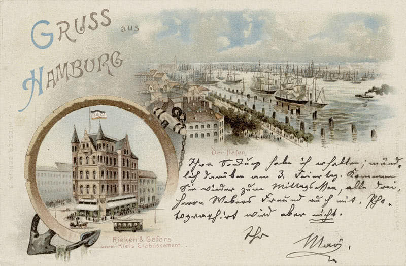 Postcard with Gruss aus Hamburg greeting