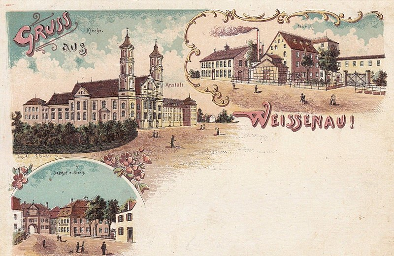 Postcard with Gruss aus Weissenau greeting