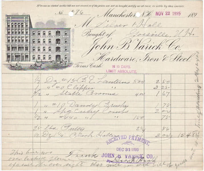 Illustrated Billhead receipt from the John B. Varick Co. of Manchester, New Hampshire