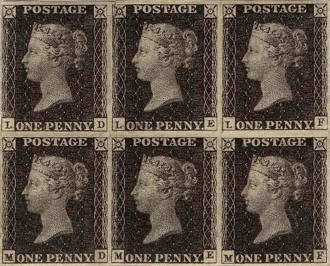 Penny Black, block of six