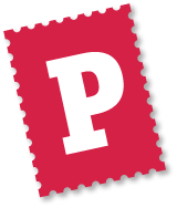 Postcrossing Logo - capital P on a red stamp